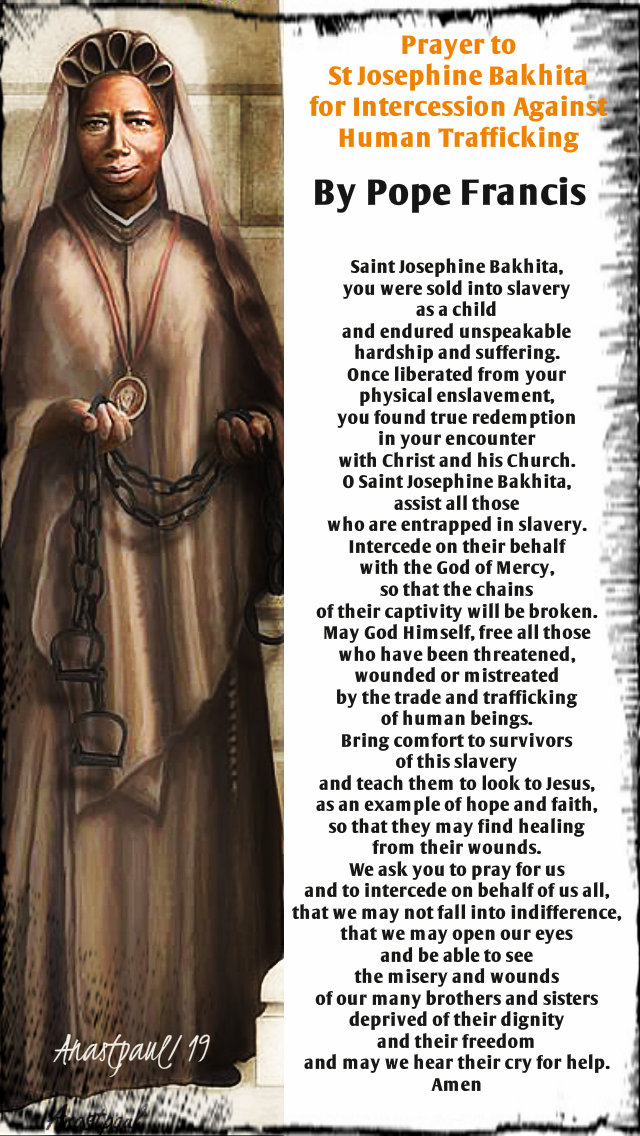 prayer to st josephine bakhita against human trafficking by pope francis 1 feb 2019.jpg