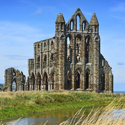 Ruins of Whitby Abbey in North Yorkshire, England— founded in 657 by St. Hilda, the original abbey fell to a Viking attack in 867 and was abandoned. It was re-built in 1078 and flourished until 1540 when it was destroyed by Henry VIII.