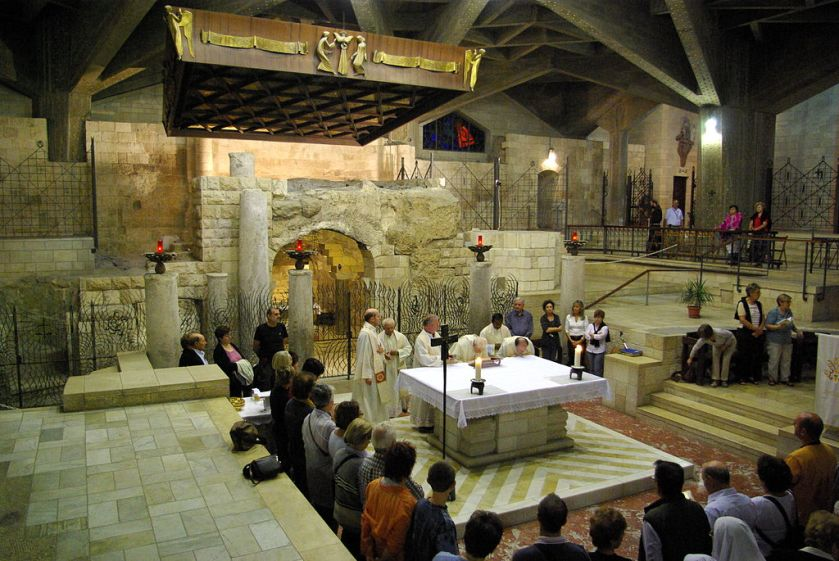 Catholic Mass in the Grotto of the Annunciation
