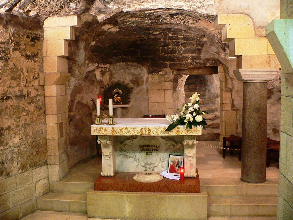 grotto of the annunciation nazareth in the lower of the basilica