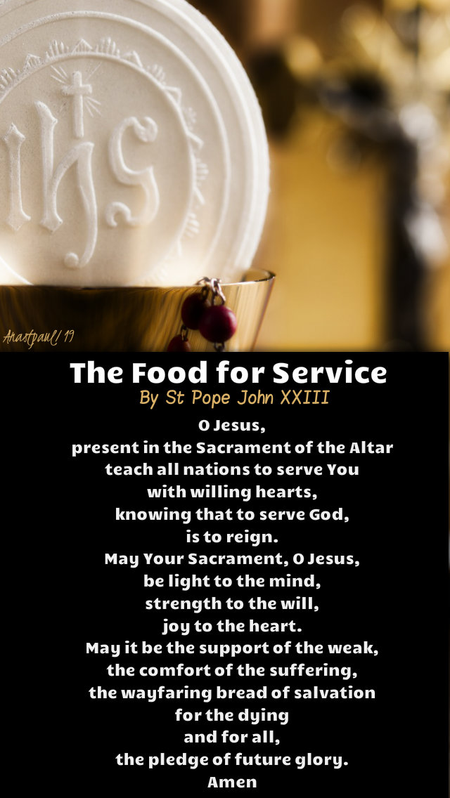 the food for service by st pope john XXIII 17 march 2019