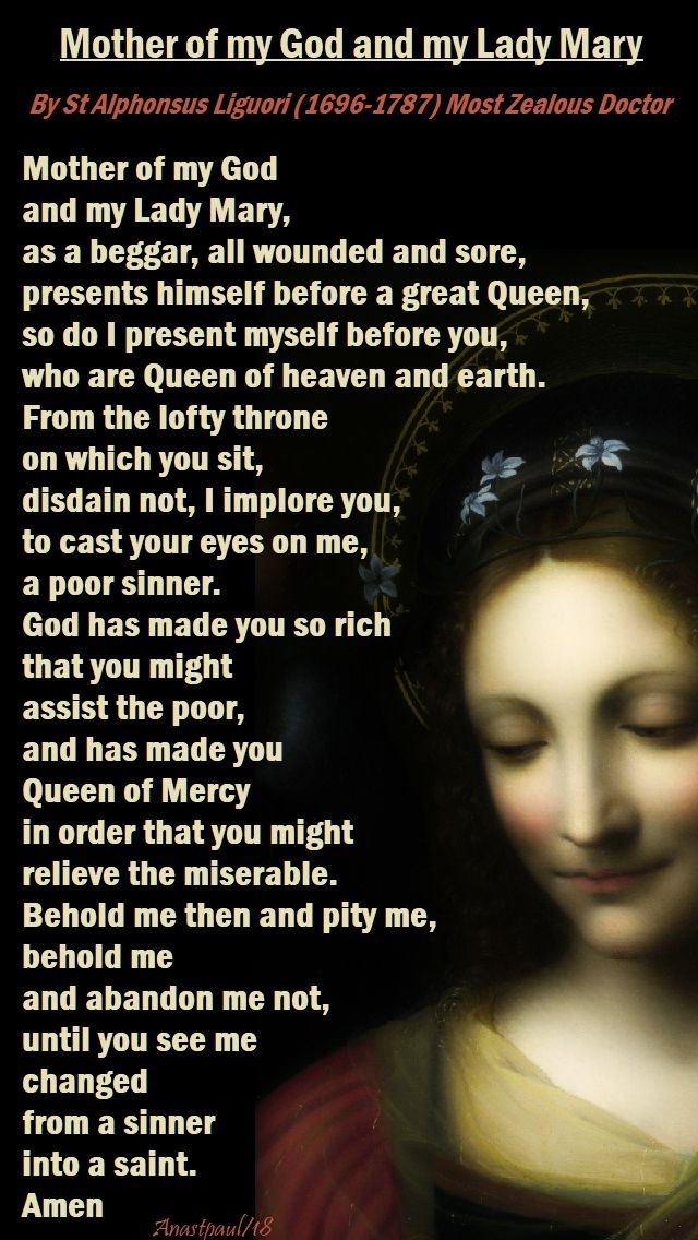 mother of my god and my lady mary - st alphonsus - 19 may 2018