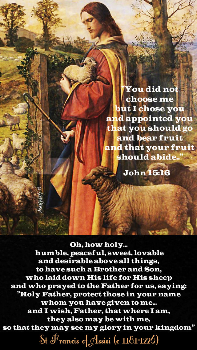 john 15 16 you did not choose me - oh how holy - st francis - 24 may 2019.jpg