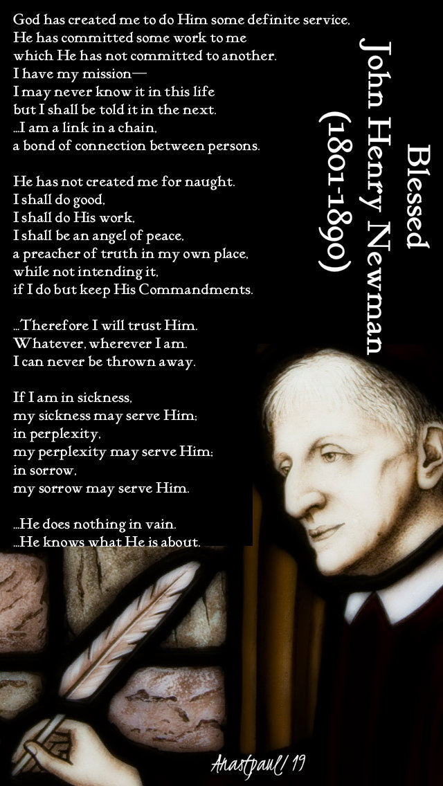 god has created me - bl john henry newman 3 feb 2019
