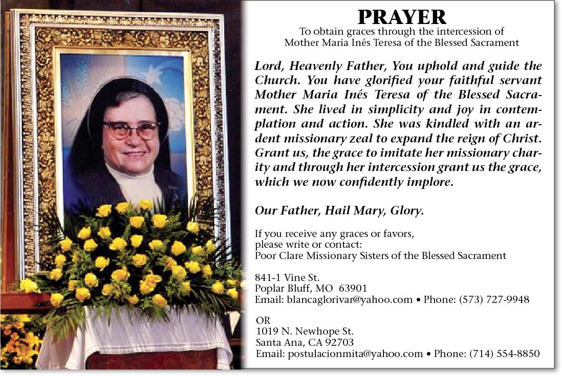 PrayerCard bl maria teresa of the blessed sacrament