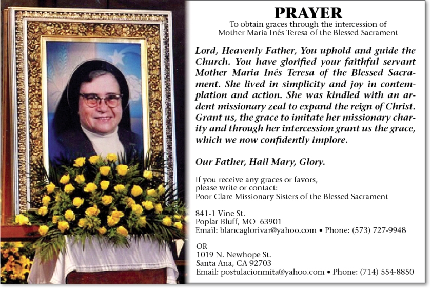 PrayerCard bl maria teresa of the blessed sacrament