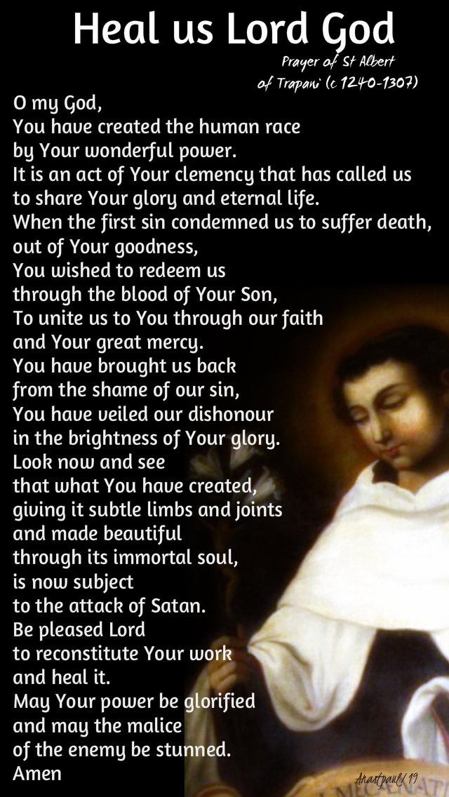 heal us lord god - prayer of st albert of trapani 7 aug 2019