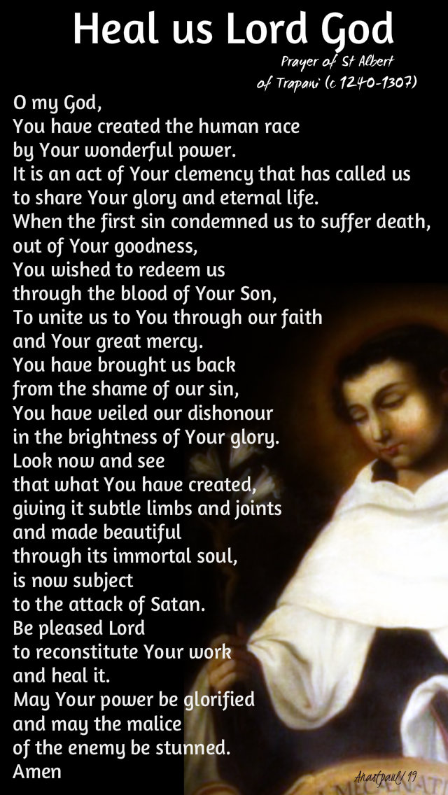 heal us lord god - prayer of st albert of trapani 7 aug 2019