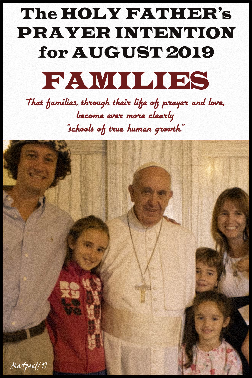 holy father's prayer inention august 2019 families