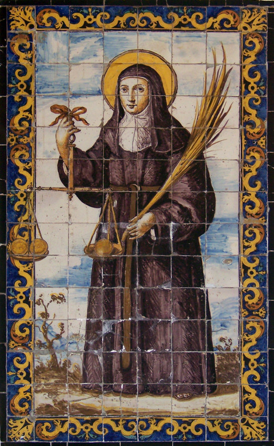 St Clare of Montefalco, circa 1670, from the Iglesia del Convento de Nuestra Señora del Pópulo de Agustinos Descalzos. Sevilla, [Public Domain] via Creative Commons