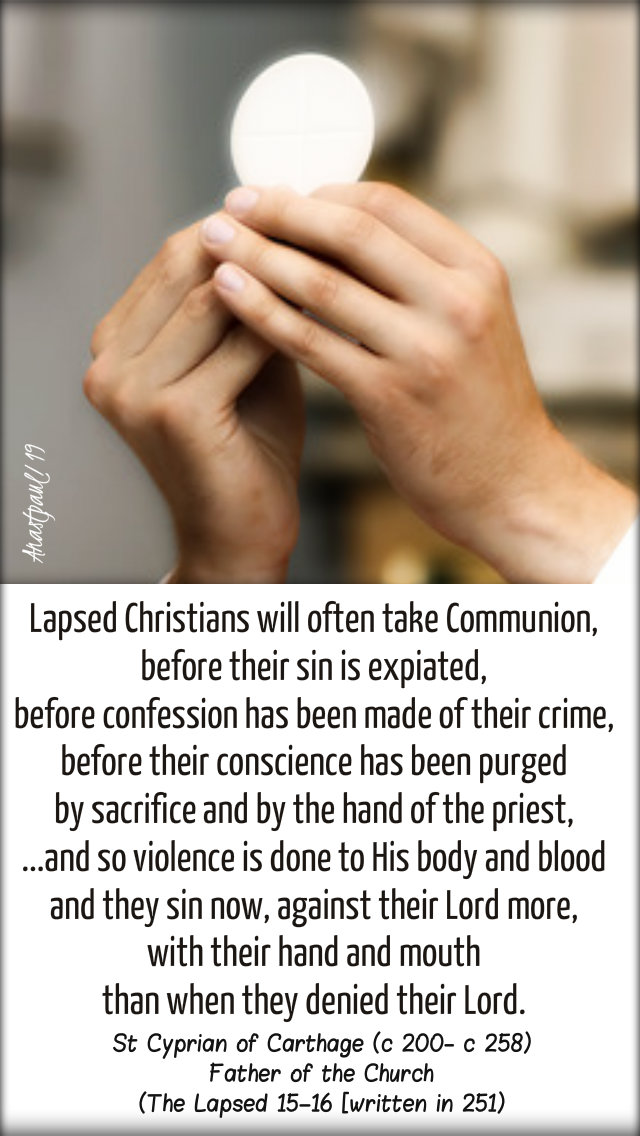 lapsed christians - st cyprian of carthage - 3 feb 2019 sun reflec
