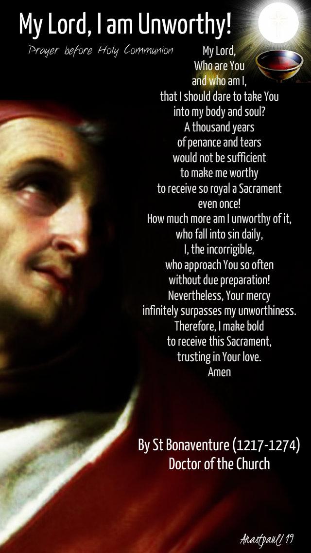 my lord i am unworthy prayer before holy comm by st bonaventure 8 sept 2019.jpg