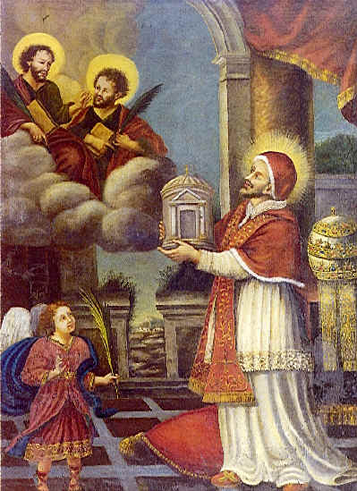Pope_Felix_presents_church_to_Cosmas_and_Damian