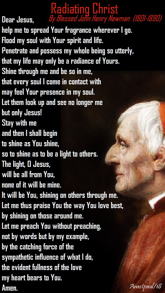 radiating christ - bl john henry newman - 9 jan 2018