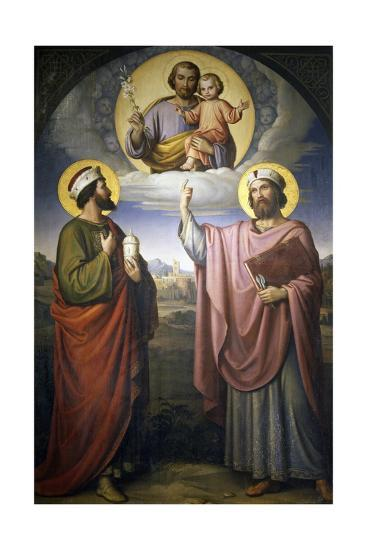 sts cosmas and damian twins with st joseph and baby jesus