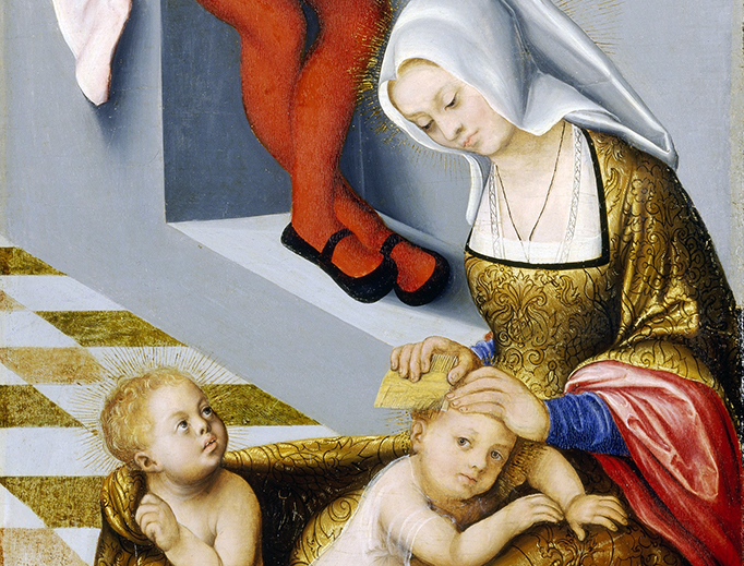 "Lucas Cranach the Elder (1472–1553), ""The Altarpiece of the Holy Kinship or Torgau"" — detail of Salome.jpg"
