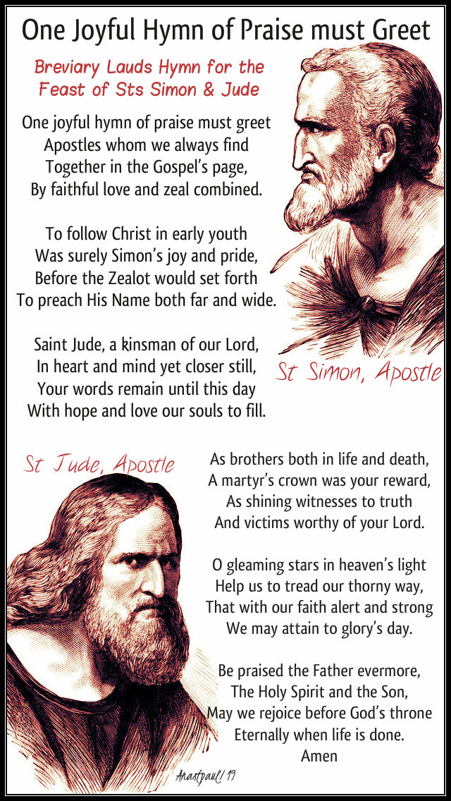 one joyful hymn of praise must greet hymn for the feast of sts simon and jude 28 oct 2019.jpg