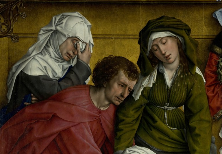 Weyden_Rogier_van_der_-_Descent_from_the_Cross_-_Detail_Mary_of_Clopas_Saint_John_the_Evangelist_and_Mary_Salome.jpg