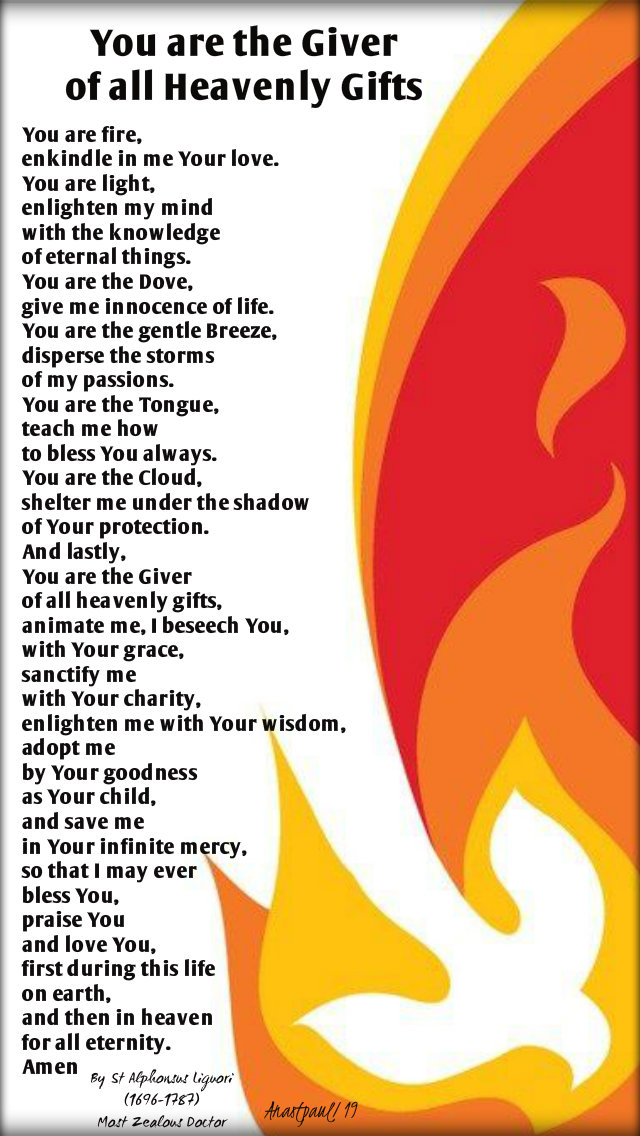 you are the give of all heavenly gifts - you are fire - st alphonsus liguori 30 oct 2019.jpg