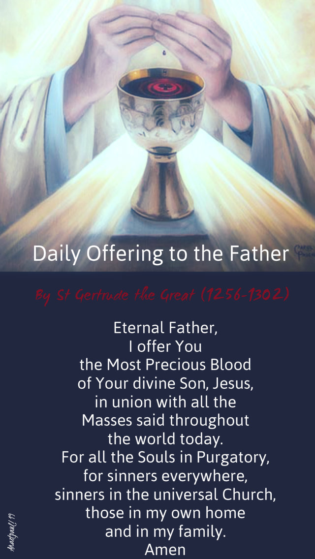 daily offering to the father - most precious blood - st gertrude 1 july 2019