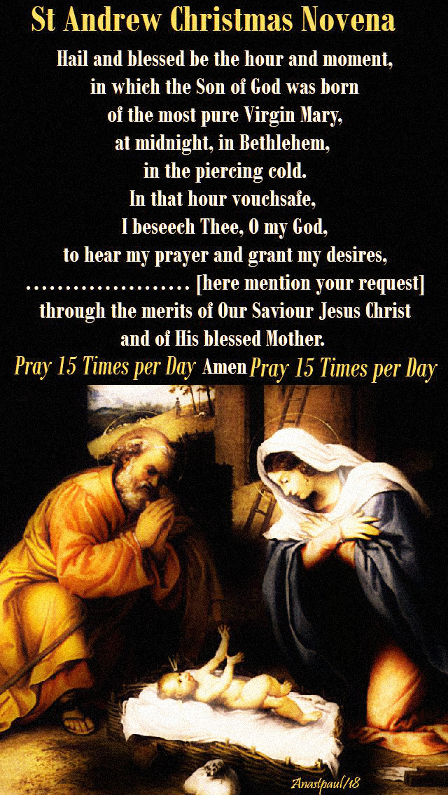 St Andrew Christmas Novena 2020 Reminder – The St Andrew Christmas Novena – begin today 30