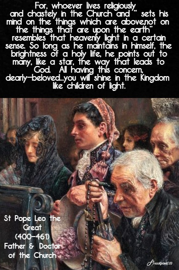 for whoever lives religiously and chastely - st leo 26 jan 2020
