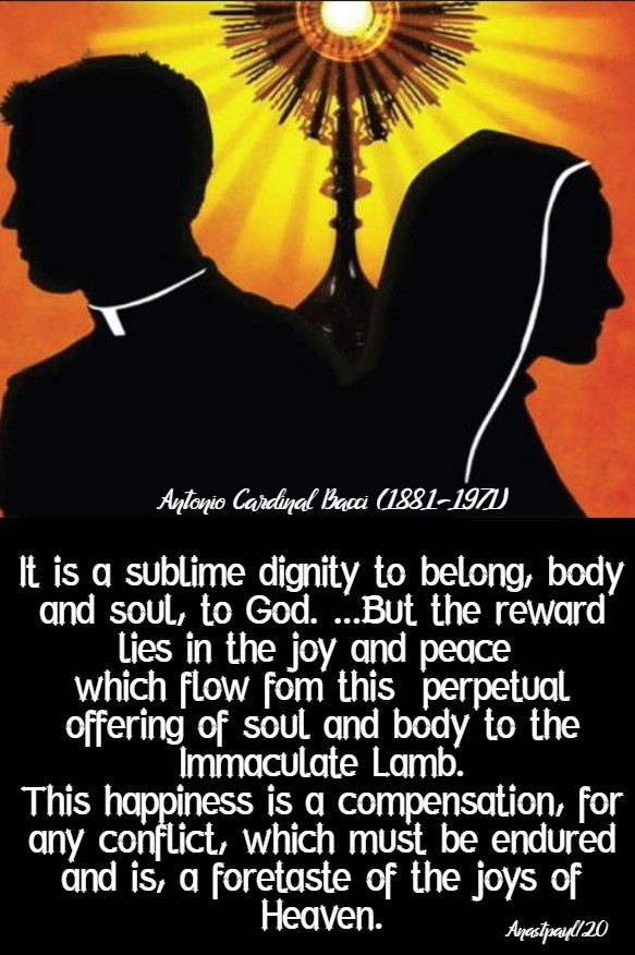 it is a sublime dignity to belong body and soul to god - bacci 29 jan 2020
