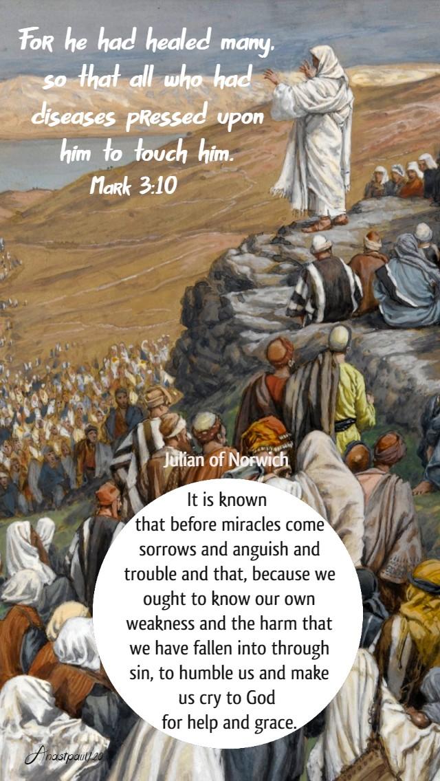 mark 3 10 for he had healed many - it is known julian of norwich 23 jan 2020