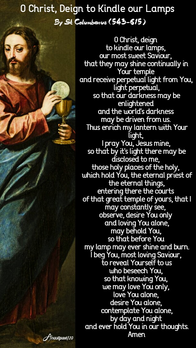 o Christ deign to kindle our lamps by st columbanus sunday of the word of god 26 jan 2020