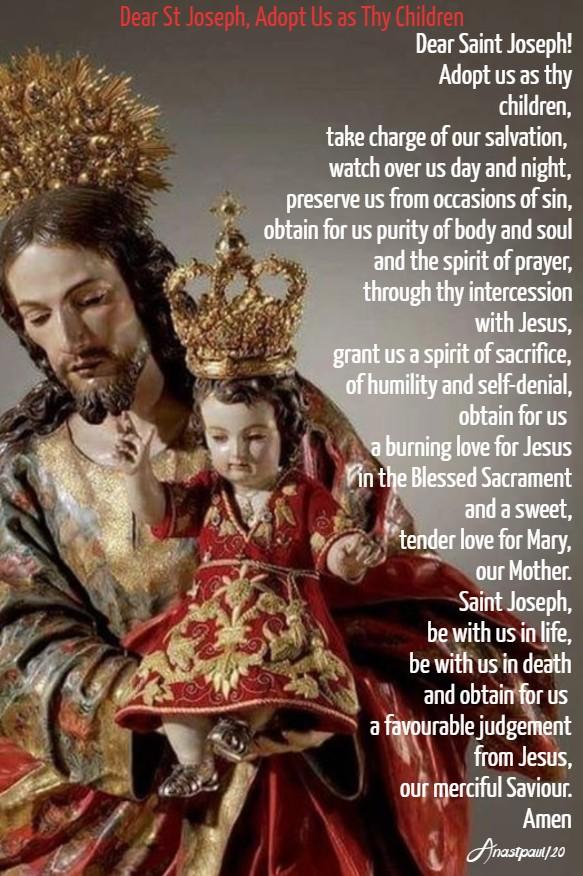 dear st joseph, adopt us as thy children 21 feb 2020 lenten novena to the holy face day five