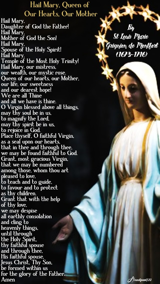 hail mary queen of our hearts our mother - lenten novena 23 feb 2020 st louis de montfort