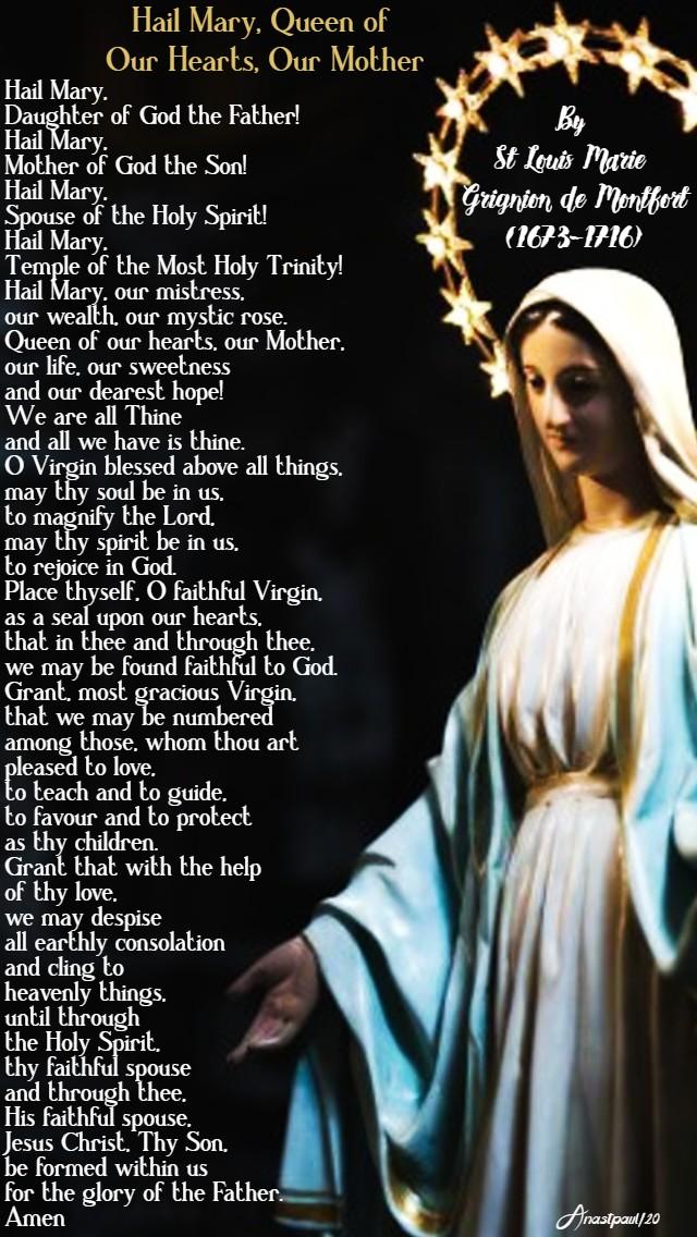 hail mary queen of our hearts our mother - lenten novena 23 feb 2020 st louis de montfort