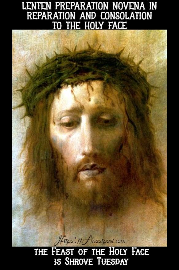 lenten prep novena to the holy face - begins 17 feb 2020