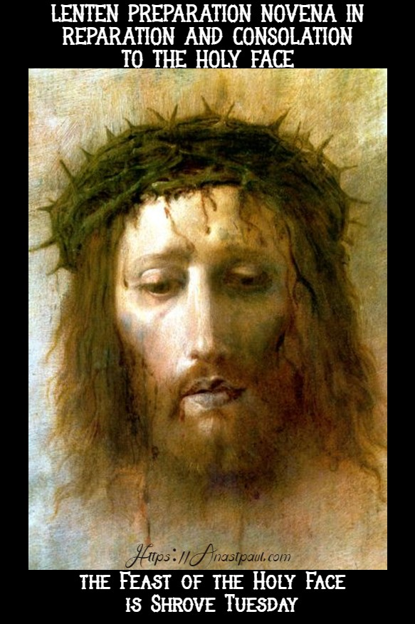 lenten prep novena to the holy face - begins 17 feb 2020