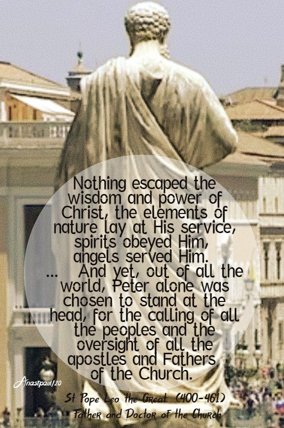 nothing escaped the wisdom and power of christ - 22 feb 2020 chari of st peter st pope leo the great