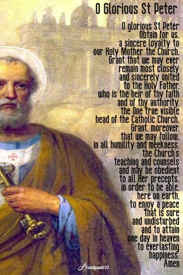 o glorious st peter lenten novena prayer 24 feb 2020
