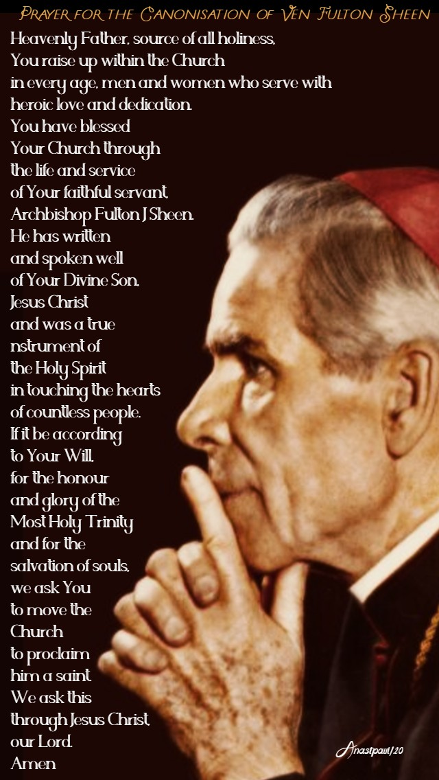 prayr for the canonisation of ven fulton sheen 5 feb 2020