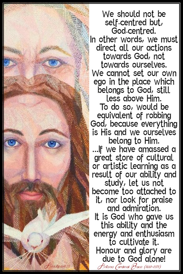 we should not be self-centred but god-centred bacci 12 feb 2020