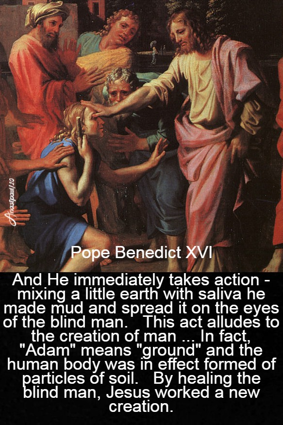 and he immediately takes action - pope benedict man born blind - 22 march 2020