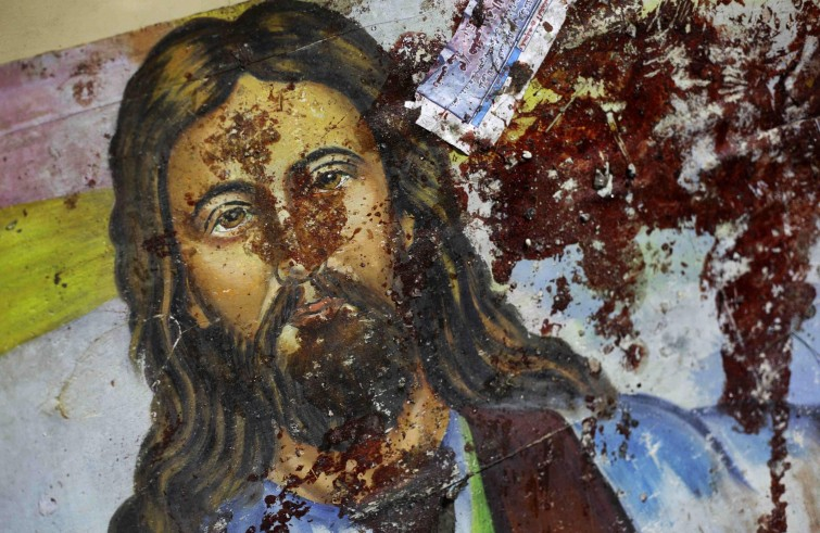 blood spattered icon of christ jesus martyrs