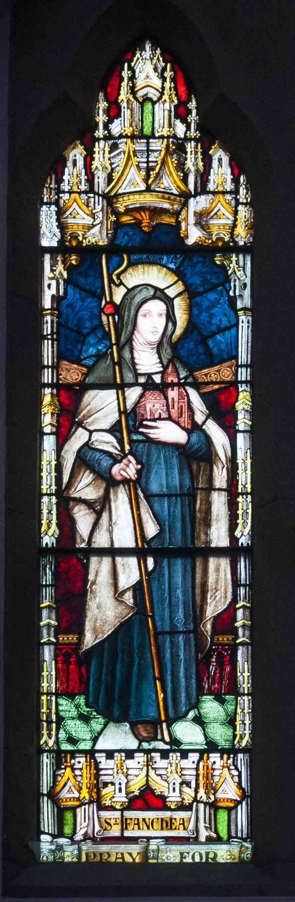 Enniskillen_St._Michael's_Church_East_Aisle_Window_06_Local_Saints_Detail_Saint_Fanchea_2012_09_17