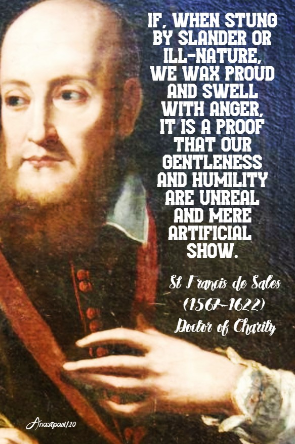 if when stung by slander we wax proud with anger - st francis de sales 11 march 2020