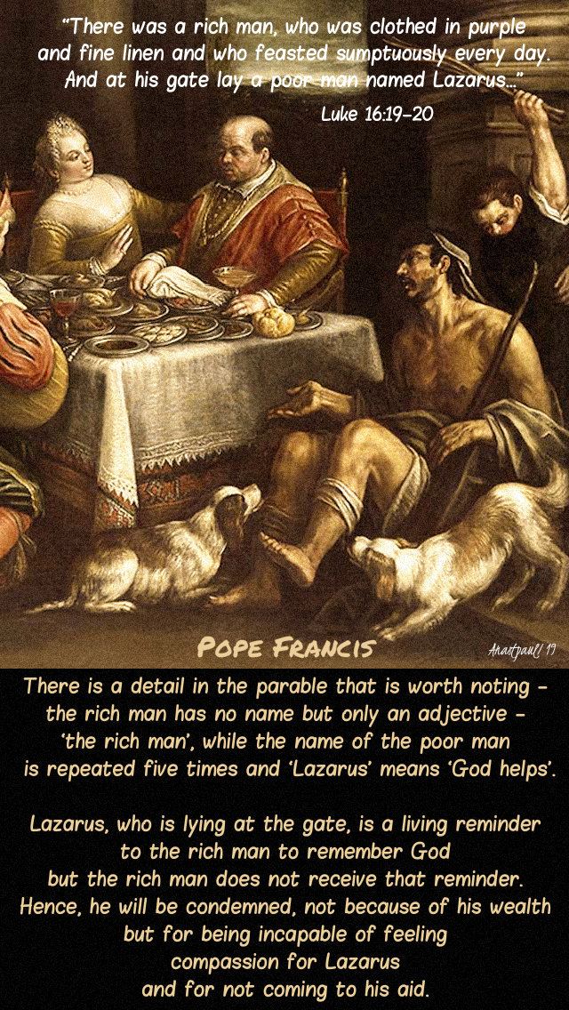 luke 16 19-20 there was a rich man - there is a detail - pope francis - 21 march 2019 thurs2ndweeklent