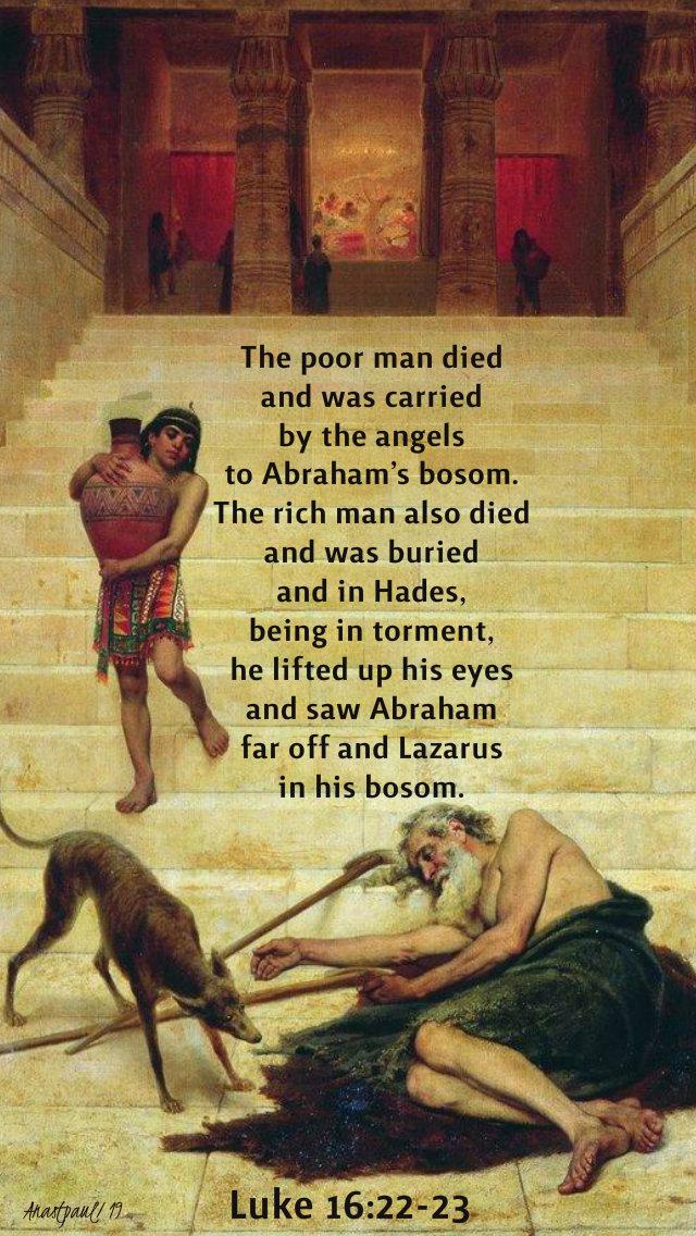 luke 16 22-23 the poor man died - 29 sept 2019