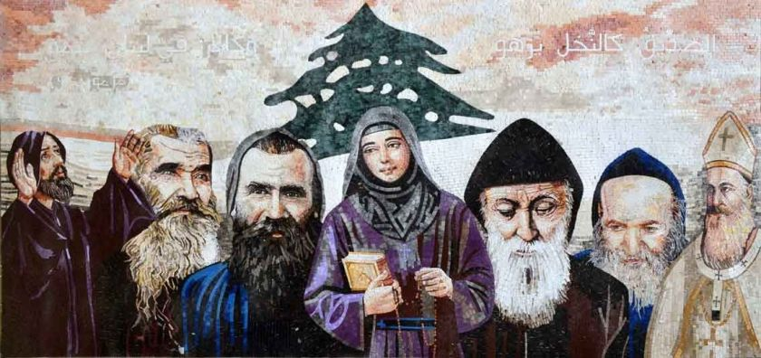 mosaic of all the lebanese saints st rafqa in the centre