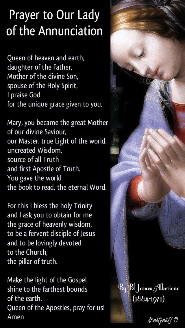 prayer to our lady of the annunciation by bl james alberione 25 march 2019