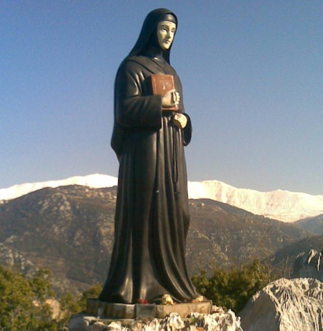 st rafqa huge statue