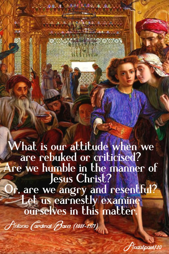 what is our attitude when we are rebuked - finding of jesus in the temple - bacci 29 march 2020