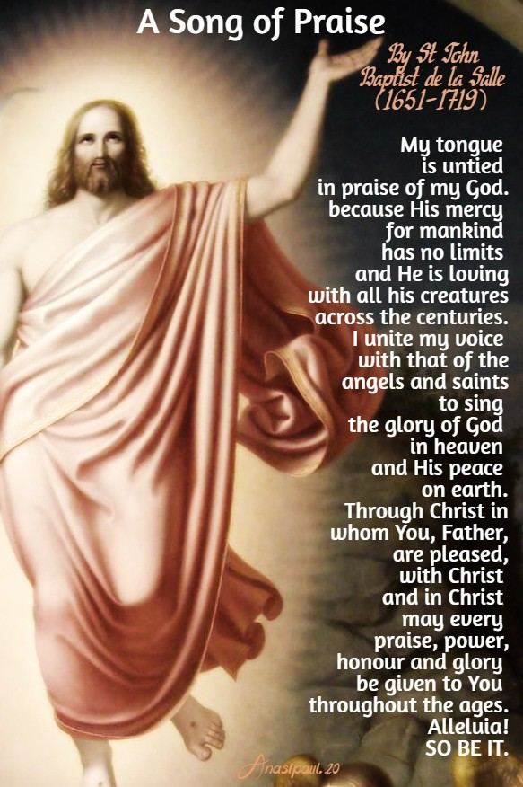 a song of praise by st john baptist de la salle 27 april 2020