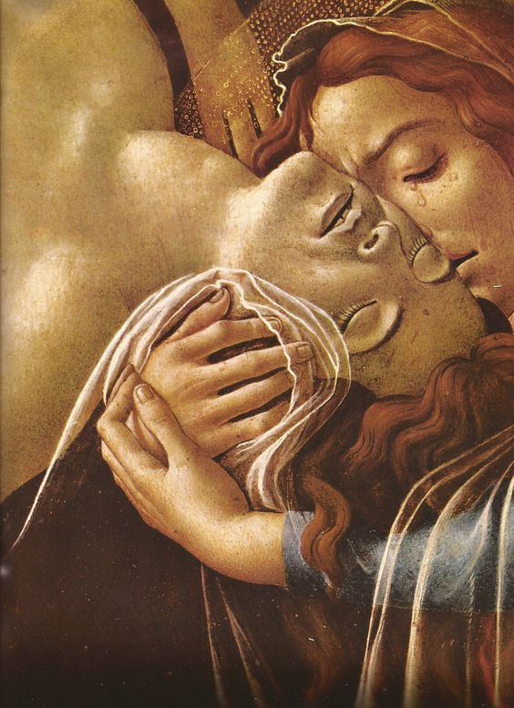 botticelli lamentation over the dead christ 1492 detail